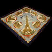 Paris Souvenir Scarf Vintage 196s Large Eiffel Tour Notre Dame Scenic
