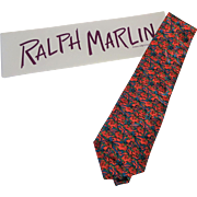 Silk Beatles Necktie Tie Strawberry Fields Vintage 1990s Ralph Marlin Novelty In Box