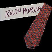 Silk The Beatles Strawberry Fields Necktie Vintage 1990s Ralph Marlin Novelty Tie In Box
