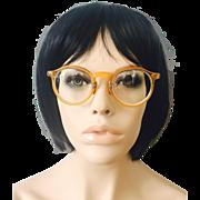 Vintage 1920s Eyeglasses Glasses Amber Round Spectacles Frames