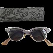 Aluminum Cat Eye Glasses Eyeglasses Sunglasses Vintage 1950s Eyewear Case