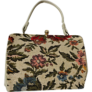 Tapestry Floral Carpet Bag Purse Vintage 1960s Ivory Womens Handbag