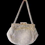 French Silk Brocade Evening Bag Vintage 1930s Rhinestone Clasp Purse