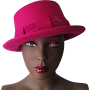 Hot Pink Boater Hat Vintage 1970s Womens Wool Fuchsia NWT
