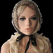 Black Polka Dot Convertible Scarf Vintage 1950s Sheer Nylon Hat