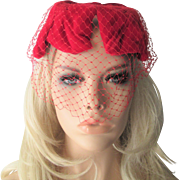 Vintage 1950s Hat Veil Red Velvet Topper