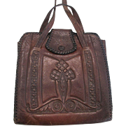 Art Nouveau Tooled Leather Purse Handbag Amity Steerhide