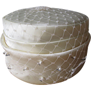 Wedding Pillbox Hat Vintage 1960s Veil Faux Pearl Beaded Ivory Satin