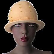 Yellow Cloche Hat Veil Vintage 1960s Soft Wool Felt Bow