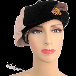 Velvet Hat Calot Juliet Cap Vintage 1970s Renaissance Revival