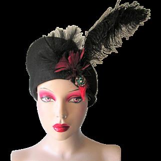 Black Film Noir Hat Vintage 1940s Beret Tam Feather Plume Rhinestones