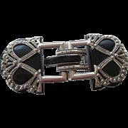 Art Deco Bakelite Belt Buckle Vintage 1940s Ornate Two Piece Silver Plated Accessory