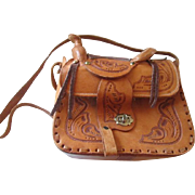Tooled Leather Saddle Bag Purse Vintage 1970s Western Handbag
