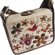 Enid Collins Jeweled Purse Vintage 1960s Hummingbird Flowers Brown Tan