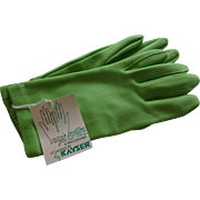 Lime Green Wristlet Gloves Vintage 1950s Deadstock Kayser NWT
