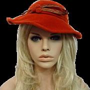 Womens Orange Wool Felt Hat Vintage 1940s Feather Great Tag