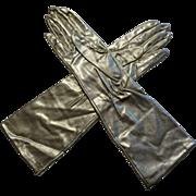 Vintage 1960s Womens Gold Metallic Long Gloves