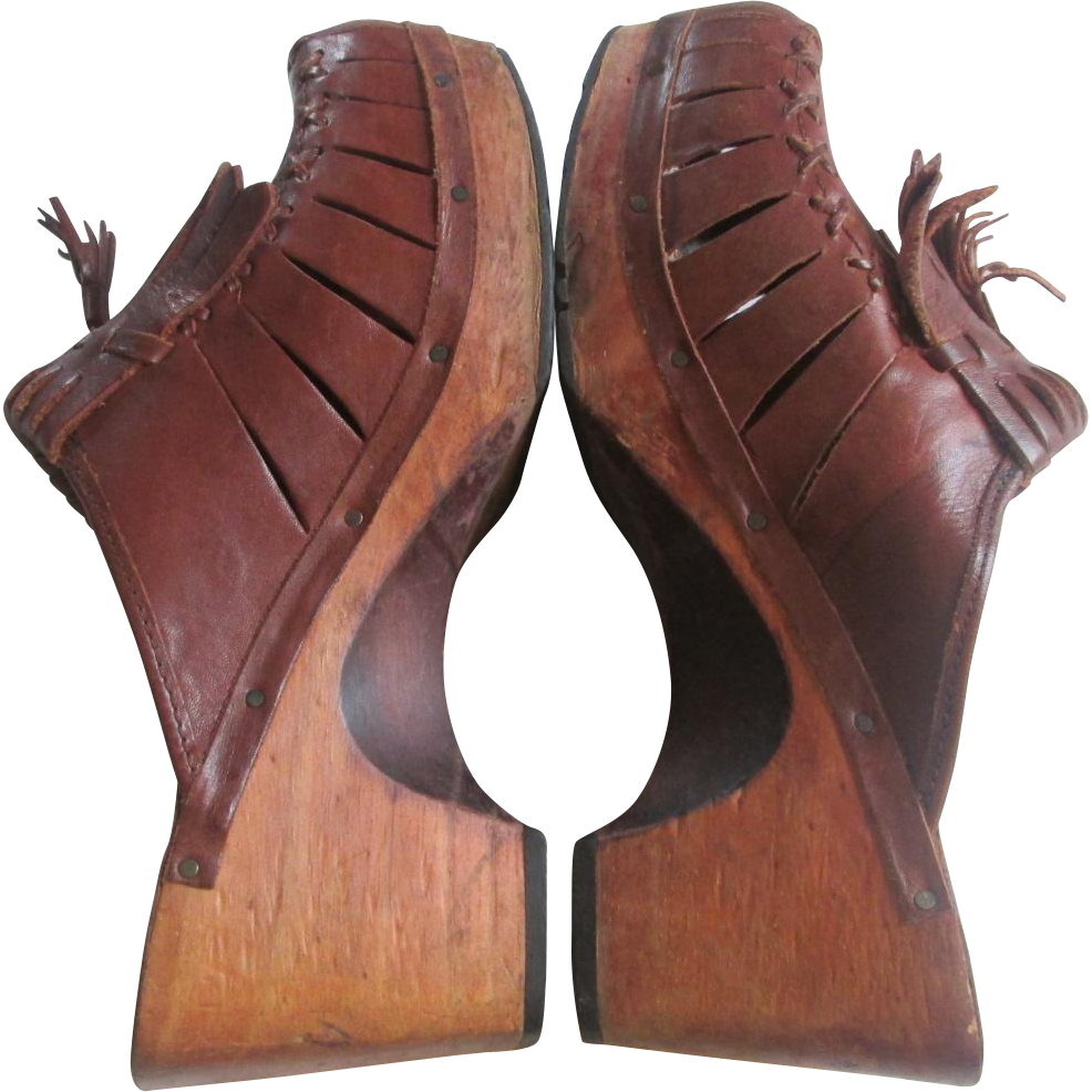 Leather Clogs Vintage 1970s Womens Shoes Wooden Heel Sandals Brazil Sold Ruby Lane