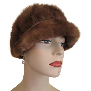 Mink Fur Hat Cap Vintage 1960s Womens Accessory