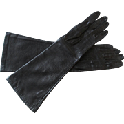 Black Leather Gloves Vintage 1970s Silk Lining Womens Accessory