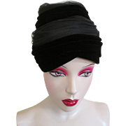 ON HOLD For Anne: Saks Fifth Avenue Hat Vintage 1950s Black Velvet Nylon Stripes