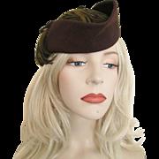 Fascinator Hat Vintage 1940s Brown Fur Felt Feathers Merrimac New York Designer