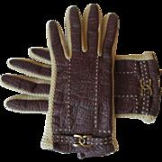 Kid Leather Driving Gloves Vintage 1970s Aris Novakid M