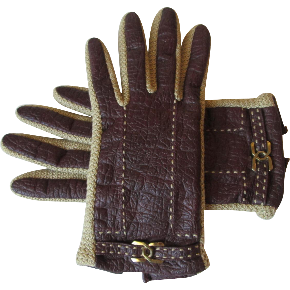 Kid leather driving gloves - Kid Leather Driving Gloves Vintage 1970s Aris Novakid M