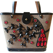 Enid Collins Jeweled Purse Vintage 1960s Money Tree Peacock Bucket Bag