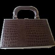 Alligator Box Purse Vintage 1950s Embossed Leather Brown Handbag Kelly Bag