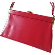 Mod Lipstick Red Purse Vintage 1960s Leather Kelly Bag Handbag