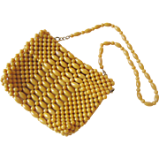 ON HOLD FOR ELLIE: Groovy Beaded Handbag Purse Vintage 1970s Mustard Yellow British Hong Kong