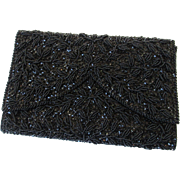 Clutch Purse Walborg Vintage 1950s Black Beaded Richere Bag Mint Condition