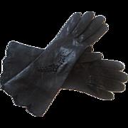 Vintage 1940s Black Leather Gloves Openwork Bow