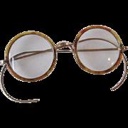 Antique Victorian Tortoiseshell Glasses Eyeglasses Round Unisex Accessory