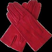 Red Leather Gloves Vintage 1960s Openwork Stripes
