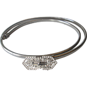Art Deco Snake Chain Belt Vintage 1940s Silver Plated Rhinestone Marcasite Buckle