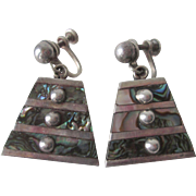 Taxco Mexico Sterling Silver Earrings Vintage 1940s Dangle Abalone Shell
