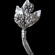 Edelweiss Brooch Vintage 1940s Sterling Silver SS Art Deco Large Flower Bouquet Pin