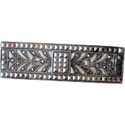 Art Deco Sterling Silver SS Marcasite Bar Pin Vintage 1940s Mexico Signed Brooch