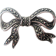 Art Deco Estate Sterling Silver SS Marcasite Bow Pin Brooch