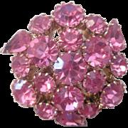 Pink Rhinestone Brooch Vintage 1950s Prong Set Pin