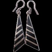 Mexico Sterling Onyx Dangle Earrings Pierced Modern