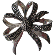 Sterling Silver SS Marcasite Bow Brooch Pin