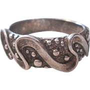 Sterling Silver SS Ring Swirling Ribbons and Granulation Beads Balls Design