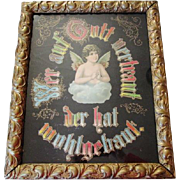 "Antique German Religious Motto Angel Framed ""Who Trusts In God A Strong Abode"""