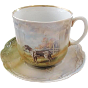Antique Three Crown China Farmers Cup Saucer 1890s Large Size Hunting Dog