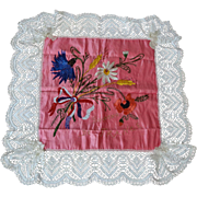 Antique WWI US France Silk Souvenir Pillowcase Embroidered Hand Beaded Pink Silk Lace Large