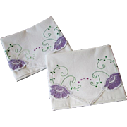 Vintage 1930s Pillowcases Purple Flowers Lace White Cotton Pair