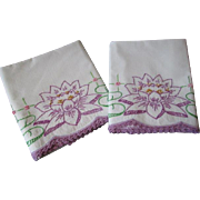 Purple Lily Pad Pillowcases Vintage 1930s Embroidery Lace Cotton Pair